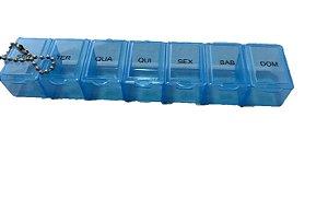 Caixa Comprimido Porta Medicamento Remédio Semanal 7 Dias azul