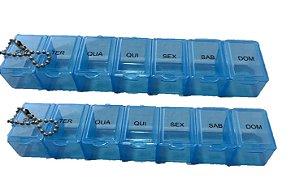 Caixa Comprimido Porta Medicamento Remédio Semanal 14 Dias azul