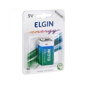 Kit com 5un Bateria Original Elgin Alcalina Blister 9 Volts 9v