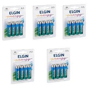 Kit 5 Blister Pilha Alcalina Blister C/4 un Cada AA 20 Pilhas Elgin Original