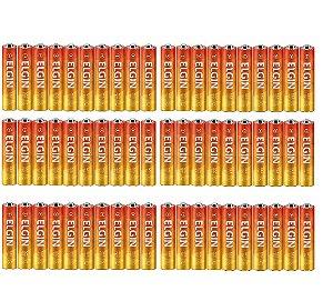 60 Pilhas Palito Elgin Normal AAA Zinco-Carvão R03