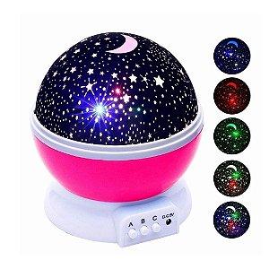 Luminária Projetor Estrela 360º Abajur Star Master Rosa