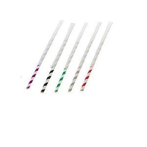 Kit 100 Canudos de Papel Listrado Coloridos Embaldos