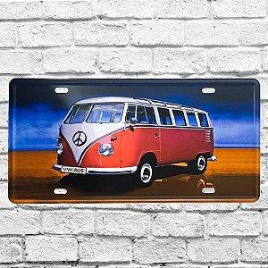 Placa De Carro Decorativa Kombi Em Metal Alto Relevo
