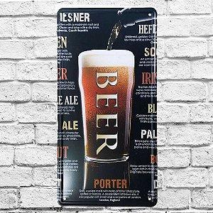 Placa Carro Decorativa Copo Cerveja Beer Drinks Alto Relevo