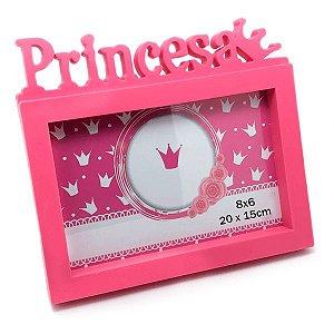 Porta Retrato Princesa 20 x 15 cm Rosa Plastico Menina