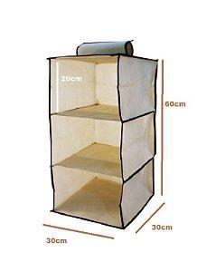 Organizador Vertical Tnt Para Closet E Guarda Roupas Com 3 Prateleiras Suspensa