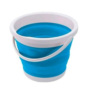 Balde Dobrável Retrátil 10 L Azul e Branco Silicone