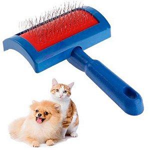 Escova Rasqueadeira Para Pet Cães e Gatos Azul e Cinza
