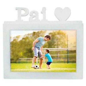 Porta Retrato Pai 20x15 cm Branco decorativo Plástico