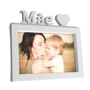 Porta Retrato Mãe 20x15 cm Branco decorativo Plástico
