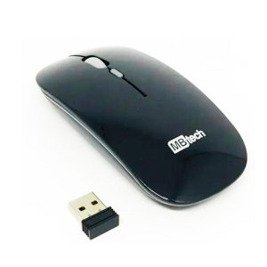 Mouse S/Fio Wireless 3200 DPI 10M Alcance Recarregável Preto
