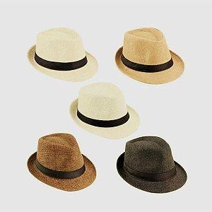 Chapéu Panamá Palha Aba Curta Faixa Preta Cor Marrom Escuro