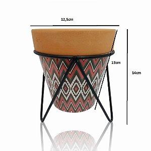 Vaso Planta  Decorativo De Ceramica 14CM  Com Suporte