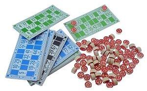 Jogo De Bingo Familiar 48 Cartelas 90 Pedras Em Madeira
