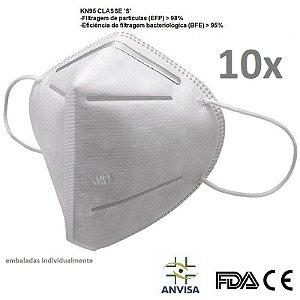 Kit 10 Máscara K N 95 Anvisa  FDA CE emb Individualmente Bfe95%