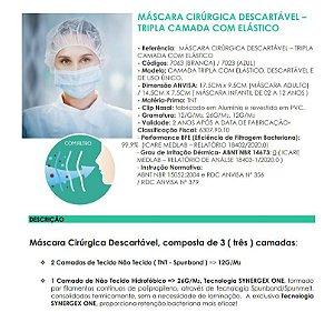 Máscara Cirúrgica Tripla Descartável Branca Wk-Flex 50 Un Anvisa