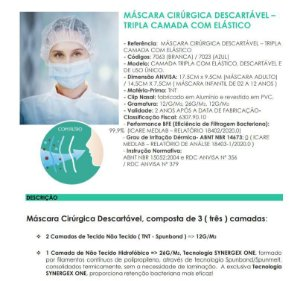 400un Máscara Cirúrgica Tripla Descartável Azul Wk-Flex Anvisa