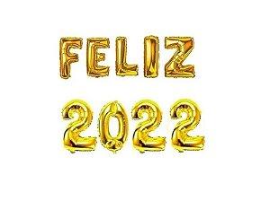 Kit 9 un Balão Metalizado Dourado 40cm Frase Feliz 2022