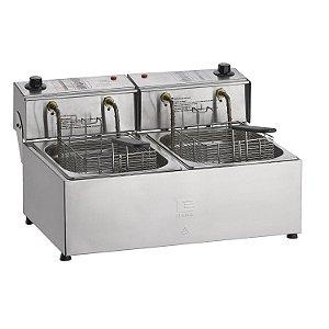 Fritadeira Elétrica Profissional em Aço Inox 10 Litros 2 Cubas 5 Litros Edanca