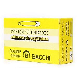 ALFINETE DE SEGURANÇA N° 2 NIQUELADO C/100 UNIDADES - BACCHI