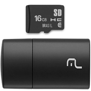 PEN DRIVE 2 em 1 LEITOR USB + CARTÃO DE MEMÓRIA CLASSE 10 16GB PRETO MC162 - MULTILASER