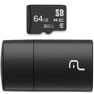 PEN DRIVE 2 em 1 LEITOR USB + CARTÃO DE MEMÓRIA CLASSE 10 64GB PRETO MC164 - MULTILASER