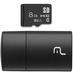 PEN DRIVE 2 em 1 LEITOR USB + CARTÃO DE MEMÓRIA CLASSE 4 8GB PRETO MC161 - MULTILASER