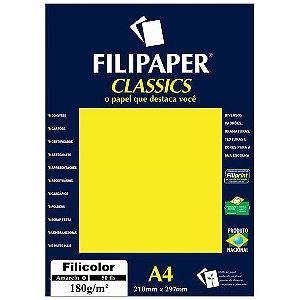 PAPEL FILICOLOR 180 G/M² A4 AMARELO C/50 FLS - FILIPERSON