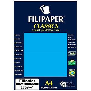 PAPEL FILICOLOR 180 G/M² A4 AZUL C/50 FLS - FILIPERSON