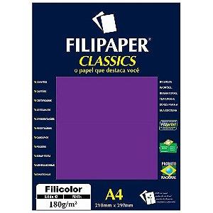 PAPEL FILICOLOR 180 G/M² A4 LILÁS C/50 FLS - FILIPERSON