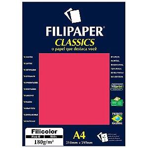 PAPEL FILICOLOR 180 G/M² A4 PINK C/50 FLS - FILIPERSON