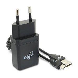 KIT CARREGADOR DE PAREDE UNIVERSAL 1 SAÍDA USB + CABO MICRO USB PARA RECARGA KT510WC PRETO - ELG