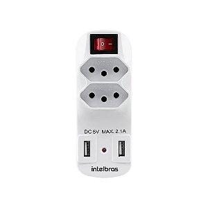 ADAPTADOR DE 2 TOMADAS E 2 USB EAC 1002 BRANCO - INTELBRAS
