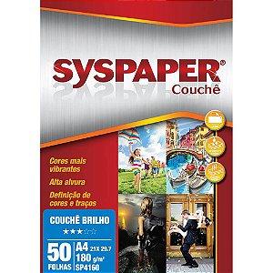 PAPEL COUCHÊ A4 BRANCO 180G BRILHO C/50 FLS - SYSPAPER