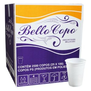 COPO DESCARTÁVEL 180ML BRANCO C/2500 UNIDADES - BELLOCOPO