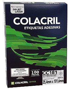 ETIQUETA INKJET E LASER PAPEL CARTA CC181 100 FLS - COLACRIL