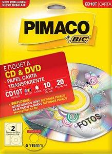 ETIQUETA CARTA CD10T TRANSPARENTE CD & DVD 10 FOLHAS - PIMACO