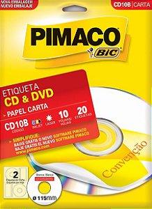 ETIQUETA CARTA CD10B CD & DVD 10 FOLHAS - PIMACO