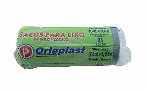 SACO PARA LIXO EM ROLO PICOTADO 100 LITROS AZUL C/25 UNIDADES - ORLEPLAST