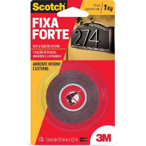 FITA DUPLA FACE SCOTCH FIXA FORTE 4411 ESPUMA 24MMX1,5M - 3M