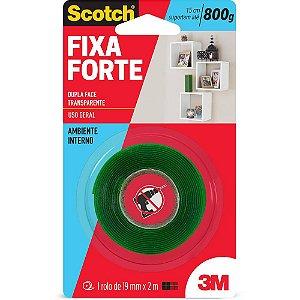 FITA DUPLA FACE SCOTCH FIXA FORTE TRANSPARENTE 19MMX2M - 3M