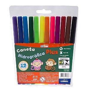 CANETA HIDROGRÁFICA PLUS 12 CORES - LEO&LEO