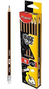 LÁPIS BLACK'PEPS B TRIANGULAR COM BORRACHA C/12 UNIDADES - MAPED