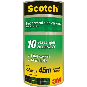 FITA DE EMPACOTAMENTO SCOTCH 5802 TRANSPARENTE 45MMX45M C/4 UNIDADES - 3M
