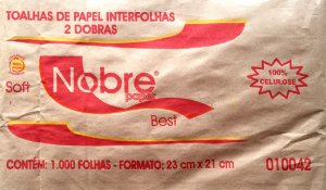 PAPEL TOALHA INTERFOLHAS BEST 2 DOBRAS FOLHA SIMPLES C/1000 FLS - NOBRE PAPER