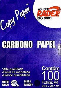 PAPEL CARBONO A4 AZUL C/100 FOLHAS - RADEX