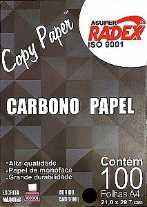 PAPEL CARBONO A4 PRETO C/100 FOLHAS - RADEX