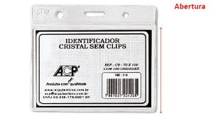 CRACHÁ IDENTIFICADOR CRISTAL SEM CLIPS HORIZONTAL - ACP