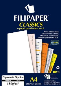 PAPEL DIPLOMATA OPALINE 180 G/M² A4 BRANCO C/50 FLS - FILIPERSON